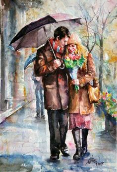Find images and videos on We Heart It - the app to get lost in what you love. Rain Painting, Couple Painting, Couple Art, Painting & Drawing, Arte Latina, Art Timeline, Rain Art, Umbrella Art, Walking In The Rain