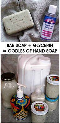 Make your own liquid hand wash from a bar of soap.