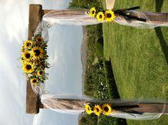 "Modern Rustic Sunflower Wedding Theme Ideas - Modern Rustic Sunflower Wedding Theme Ideas - - Arch where the bride and groom will say ""I DO"" - - Wedding GarlandSunflower Swag Wedding Backdrop Wedding Arch Lilac Wedding, Fall Wedding, Rustic Wedding, Wedding Flowers, Arch Wedding, Pink Weddings, Dream Wedding, Bouquet Wedding, Wedding Bouquets With Sunflowers"