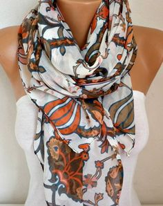 Tulip Cotton Scarf Soft Shawl Spring Summer Scarf Cowl by fatwoman