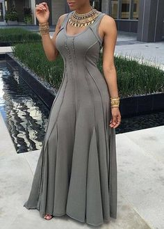 Grey maxi dress with metal jewlery detail Trendy Dresses, Sexy Dresses, Beautiful Dresses, Fashion Dresses, Casual Dresses, Vetement Fashion, African Dress, Mode Style, African Fashion