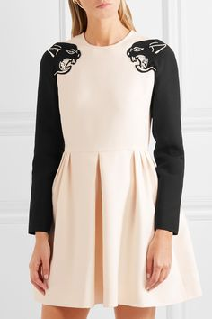 Valentino   Panther beaded wool and silk-blend crepe mini dress   NET-A-PORTER.COM