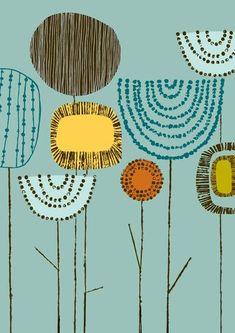 Shape Study Stems Teal, limited edition giclee print by EloiseRenouf on Etsy Illustration Art, Illustrations, Motif Floral, Art Plastique, Flower Prints, Flower Art, Printmaking, Giclee Print, Pattern Design