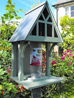 Holly #cottage bird feeder, gothic, #designer feeding #station, hand made, wooden,  View more on the LINK: http://www.zeppy.io/product/gb/2/291962644249/