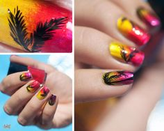 Stylish ombre manicure with palms :: one1lady.com :: #nail #nails #nailart #manicure