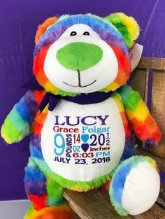 Embroidered Bear with Birth Information. World Class Embroidery New Baby Gifts, Gifts For Kids, Monthly Photos, Personalized Baby Gifts, Baby Birth, Rainbow Baby, Ribbon Colors, Newborn Gifts, Cubbies