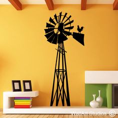 Windmill Home Wall Colour, Custom Wall, Flat Color, Wall Art Designs, Colorful Pictures, Windmill, Art Studios, Wall Art Decor, Wall Stickers