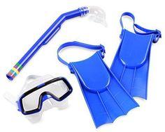 Pool Mask and Snorkel Toy Set Kids Girft Living Fins Snorkel Sets Blue  #PoolMaskUSA