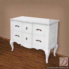 Kommode PALERMO weiß H85cm Pinie Massivholz - Traditionelle Handwerkskunst und edles Massivholz treffen sich in diesem Möbel und formen die Silhouette der Kommode. Die Liebe zum Detail macht sie zu einem besonderen Blickfang!