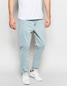 ASOS Stretch Tapered Jeans In Light Blue