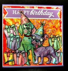 Party Pooches! by jacqueline - Cards and Paper Crafts at Splitcoaststampers.  (Pin#1: Crazies:  Birds, Cats, Dogs...).