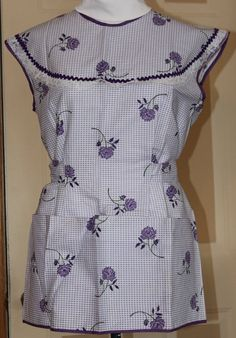 Vintage Smock Style Apron, Purple Gingham with lace, rick rack and flowers, 1960's