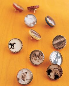 Bottle caps inset with small black-and-white pictures, can be used as thumbtacks or magnets