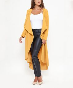 Look what I found on #zulily! Mustard Cowl Neck Coat #zulilyfinds