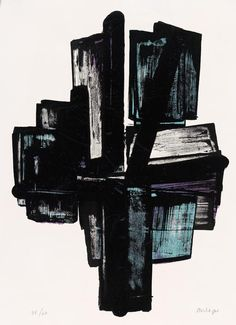 arpeggia:  Pierre Soulages -LithographNo. 4, 1957 See more Pierre Soulages posts here.