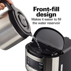 The Hamilton Beach Front Fill Thermal Coffee Maker offers 3 brew options, so you can enjoy coffee your way. Thermal Coffee Maker, Charcoal Filter, Hamilton Beach, Coffee Machine, Carafe, Brewing, Canning, Java, Kitchen Ideas