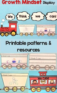Get all the printable patterns needed to create this motivating, student-created growth mindset display in your classroom. It is based on the classic book The Little Engine That Could.  Includes patterns, instructions, how to relate the story to growth mindset, links to growth mindset resources.  https://www.teacherspayteachers.com/Product/Growth-Mindset-Craftivity-Classroom-Display-The-Little-Engine-That-Could-2787449