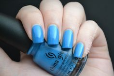 China Glaze Sky High Top is a bright sky blue with subtle shimmer. This one is from the Summer 2009 Kicks Collection, which is an awesome collection in my opinion and I'm happy to be adding another of the Kicks polishes to my stash. My swatch is two coats and the formula was really good.