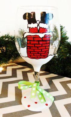 2013 Upside down Santa Hand Painted Christmas Themed Wine Glasses, Christmas Santa Wine Glasses