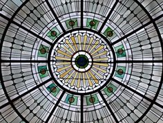 The barrel-vaulted,Tiffany Glass skylights of Pennsylvania Station, Baltimore, Maryland #photography #architecture #building #interior #ceiling  #vaulted #tiffany #glass #window #skylights #pennstation #pennsylvania #train #trainstation #railroad #station #baltimore #maryland #md #circle #symmetry #geometry #yellow #green #light #art #history #travel  #hdr #nikon