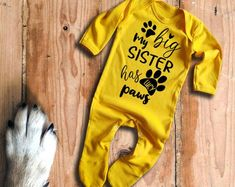animals dogs Baby/'s with cats Custom name My big sister has paws burgundy baby grow bodysuit vest