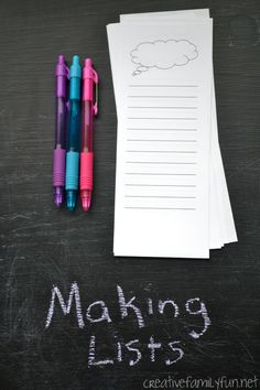 Making Lists: After School Writing Practice ~ Creative Family Fun