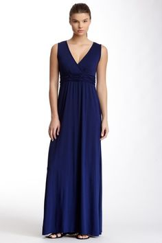 Max Studio Sleeveless Patterned Empire Waist Maxi Dress by Max Studio on @HauteLook