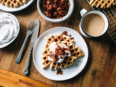 Gluten free maple waffles with coconut whipped cream + coconut bacon ...
