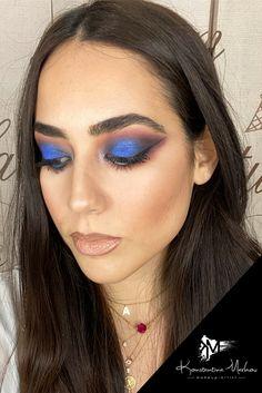 #blue #makeup #muakonstantinamarkou #makeupideas Airbrush Make Up, Blue Makeup, Permanent Makeup, Bridal Make Up, Eyelash Extensions, Eyelashes, Beauty Makeup, Makeup Looks, Artist