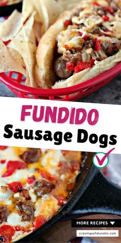 These Fundido Sausage Dogs are made with Italian Sausage and topped with homemade fundido dip. It's a sausage lovers dream come true! #gameday #food #dinner #footballfood #fundido Barbecue Recipes, Grilling Recipes, Slow Cooker Recipes, Brunch Recipes, Easy Dinner Recipes, Easy Meals, Outdoor Cooking Recipes, Sports Food, Party Food And Drinks