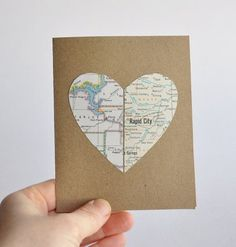 A card with a heart made out of both your city's maps, perfect for any occasion. | 19 Adorable Gifts For Your Long Distance BFF