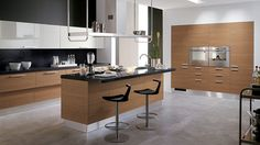 Customized modern kitchen with trendy wooden charm