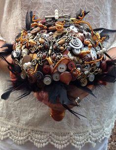 steampunk bouquets | Steampunk bronze & silver, button, watch, key and bead bridal wedding ...