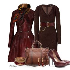 """Red calf hair coat w/ Fendi silk scarf"" by leilani-almazan on Polyvore"