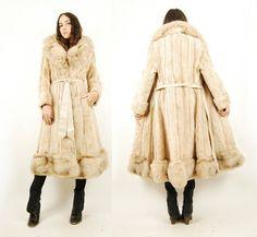 Vtg 70s Blonde MINK CRYSTAL FOX FUR Leather HUGE COLLAR Trench COAT Jacket S/M