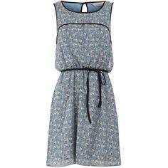 Petite blue floral tea dress ($35) found on Polyvore