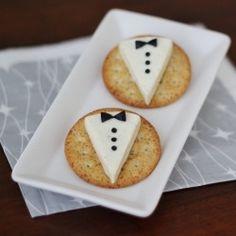appetizers - Laughing Cow cheese and someone suggested using cut-up black olives for the bow-ties.  I might just use a tad of black icing in one of the tubes you can buy.