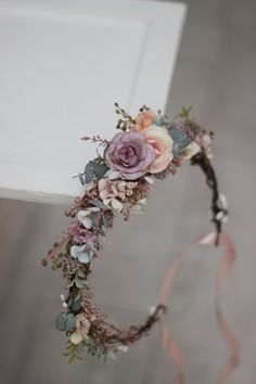 It's a great idea to acquire some flowers to practice with ahead of time to make sure you'll more than happy with your outcomes. Flower Girl Crown, Flower Crown Wedding, Bridal Flowers, Rose Crown, Dusty Rose Wedding, Floral Wedding, Purple Wedding, Pastel Flowers, Flowers In Hair