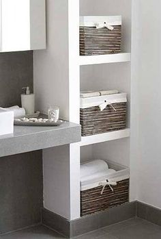 bathroom storage ideas - Re-organize your towels and toiletries during your next round of spring cleaning. Check out some of the best small bathroom storage ideas for Bad Inspiration, Bathroom Inspiration, Simple Bathroom, White Bathroom, Bathroom Small, Bathroom Ideas, Bathroom Modern, Modern Sink, Small Bathroom Interior