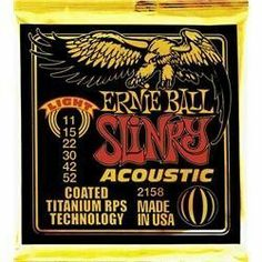 Ernie Ball 2158 Coated Slinky Acoustic .011 - .052 by Ernie Ball. $11.69. Made from 80% copper, 20% zinc wire wrapped around hex shaped tin plated steel core wire. Wound strings are specially coated and plain strings are gold plated. An extra titanium reinforcement around the lock twist to prevent breakage.. Save 58%!