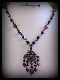LAMENT Gothic Victorian Romantic Beaded Black Purple Pendant Necklace by Blood Flowers