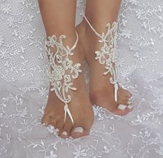 ivory beach wedding barefoot sandal beaded lace by GlovesByJana