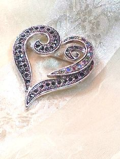 Vintage Crystal Heart Brooch Estate Jewelry from NorthCoastCottage Jewelry Design & Vintage Treasures, on Etsy.com, $59.00