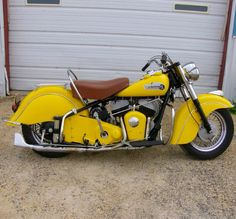 """Yellow '53 Chief w/bench seat, last of the """"Flathead"""" Indians."""