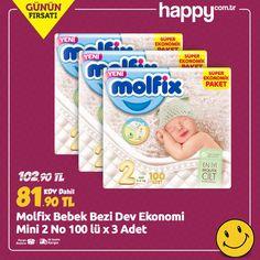 Molfix ile Mutlu Gecelerler Mutlu Gündüzler 😊 Molfix Bebek Bezi Dev Ekonomi Mini 2 No 100 lü x 3 Adet sadece 81.90 TL! Sipariş için: https://www.happy.com.tr/molfix-comfort-fix-dev-ekonomi-mini-2-no-100-lu-x-3-adet