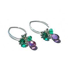Ohrringe Sterling Silber Violet baumeln / Quarz