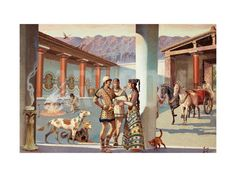 Travelers Prepare to Depart after Visiting a Mycenaean Palace Giclee Print by H.M. Herget at Art.com