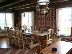 Mountain Cabin in Norway with Norwegian farm Furniture and a wonderful aakle (woven wall carpet)