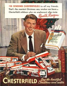 Ex-president & actor Ronald Reagan promoting Chesterfield cigarettes