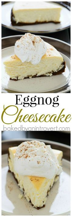 Eggnog Cheesecake Divine eggnog cheesecake on top of a gingersnap crust, topped with eggnog whipped cream. This is something every eggnog lover must try! Holiday Baking, Christmas Desserts, Christmas Baking, Eggnog Cheesecake, Baked Cheesecake Recipe, Just Desserts, Dessert Recipes, Yummy Treats, Sweet Treats